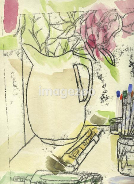 Art supplies near a pitcher containing flowers.