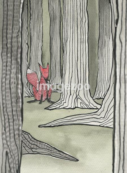 A fox in the middle of a forest.