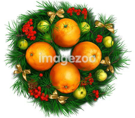 A Christmas wreath with oranges and ribbons