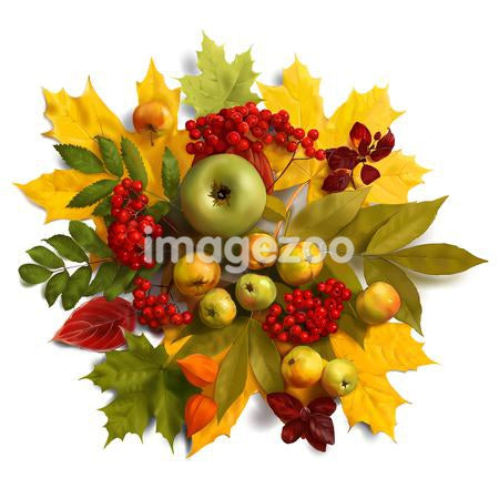 An autumn wreath with leaves, apples and berries