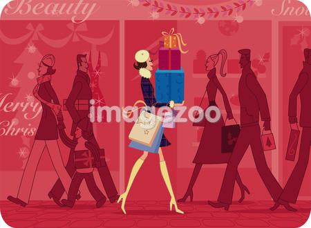 A woman with a stack of Christmas gifts walks down a busy shopping street