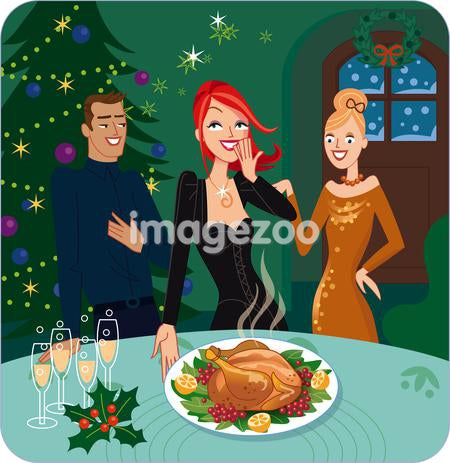 A woman showing her friends Christmas turkey dinner