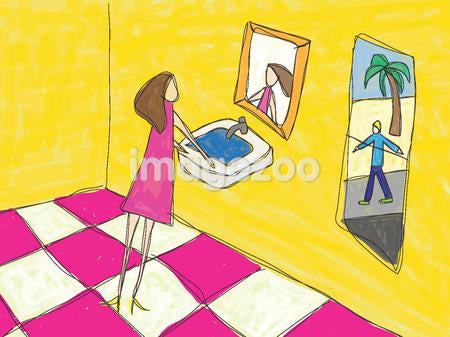 A woman in the bathroom looking at herself in the mirror