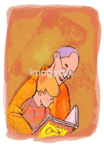 A grandfather and grandson reading a book
