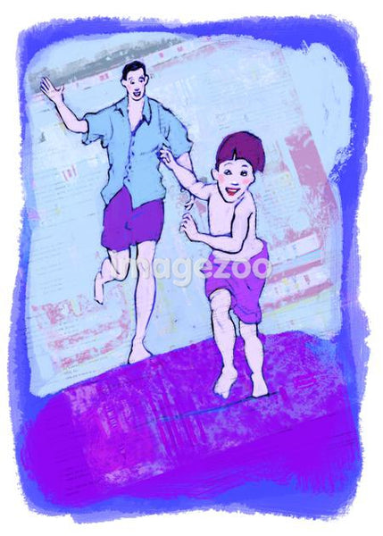 An illustration of a boy and his father running