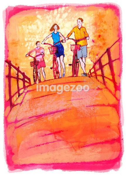 An active family going bike riding together
