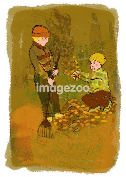 Two kids raking fallen leaves in the garden