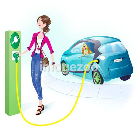 A woman recharging her vehicle