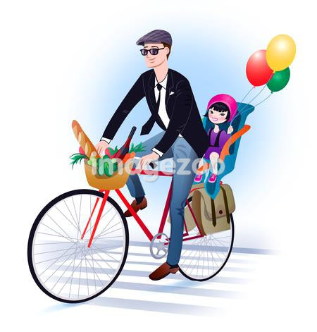 A man riding a bicycle with his daughter in the back seat holding balloons