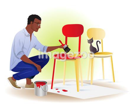 A man painting a chair
