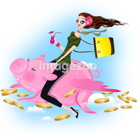 A woman on a piggy bank