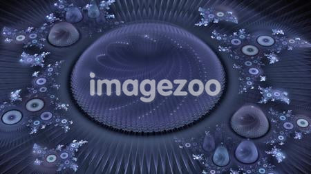 An abstract purple digital illustration with circular components