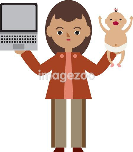 A woman holding her baby and a laptop computer.