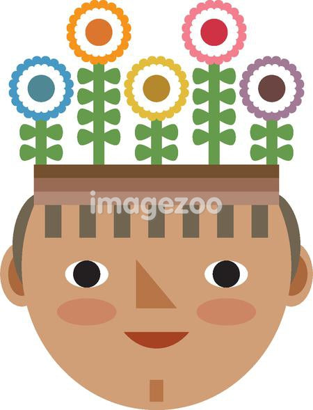 a boy with flowers growing out of his head