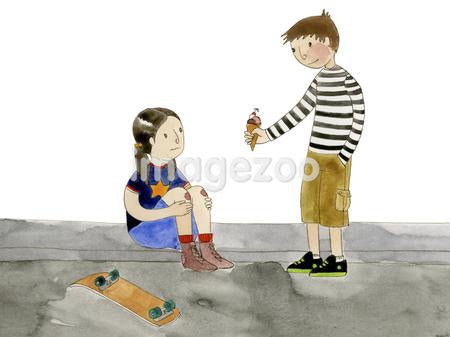 A boy giving a girl ice cream