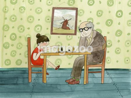 A girl and her grandfather playing chess