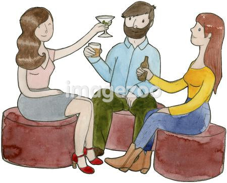 Two women and a man holding their drinks up