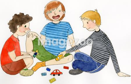 Three children playing with their toys