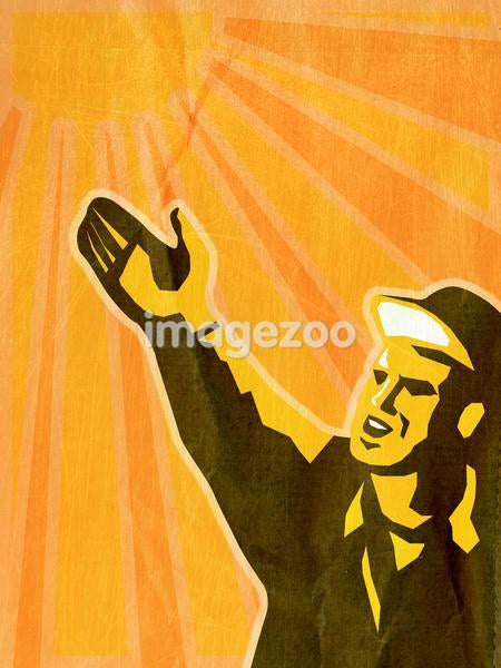 A man pointing to a sunburst