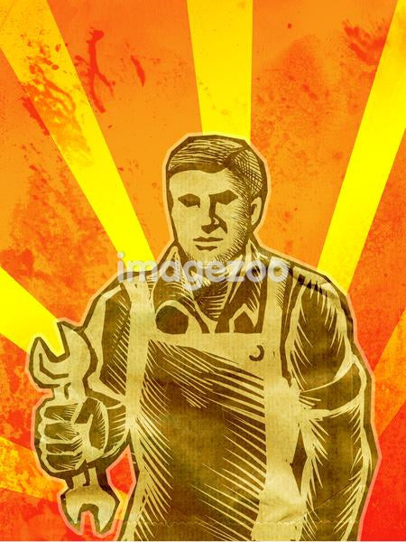 A woodcut style image of a man holding a wrench