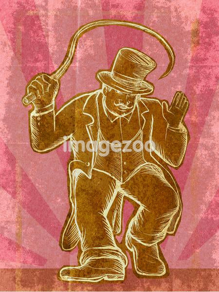 A circus ringmaster holding a whip