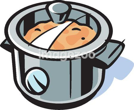 Drawing of a cooker with food being prepared
