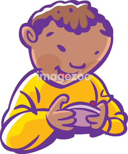 A child holding a video game controller