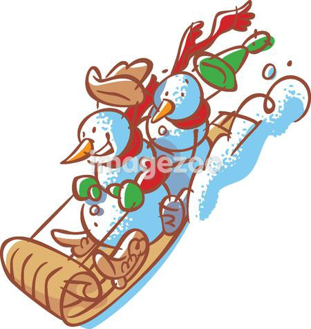 Two snowmen riding downhill on a sled