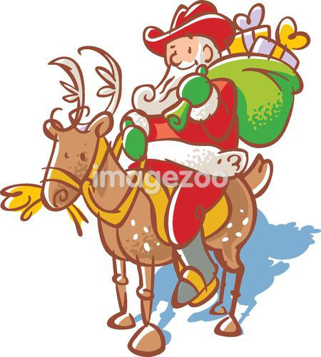 Santa Claus in a cowboy hat with a sack of toys riding a reindeer