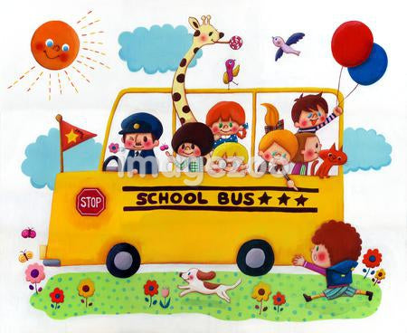 A group of children and animals in a yellow school bus