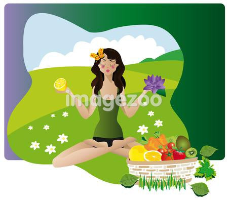 A woman doing yoga while holding a flower and fruit