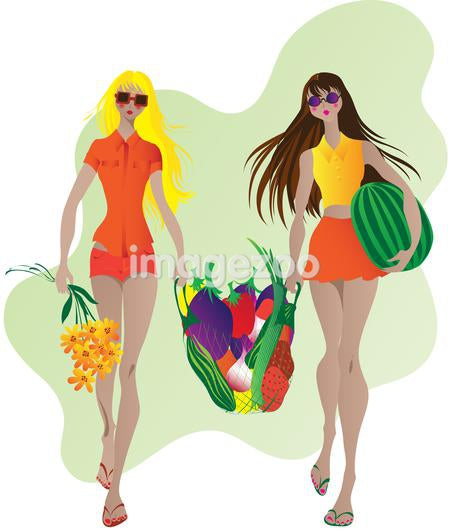 Two women holding a bag full of fruit and vegetables
