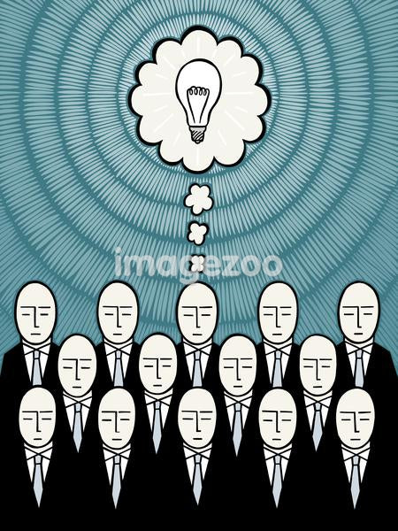 One businessman out of a group thinking of an idea