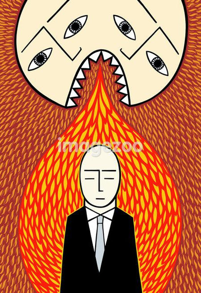 A two headed man breathing fire on a businessman