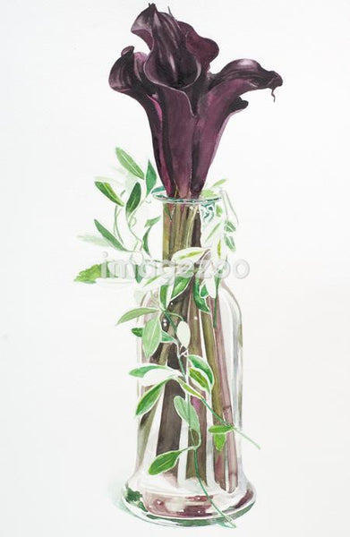 Tall stemmed purple lilies in a vase