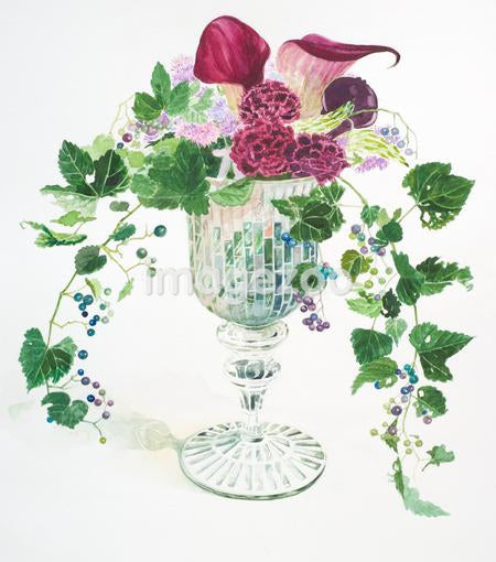A watercolor painting of purple flowers and vines filling a vase