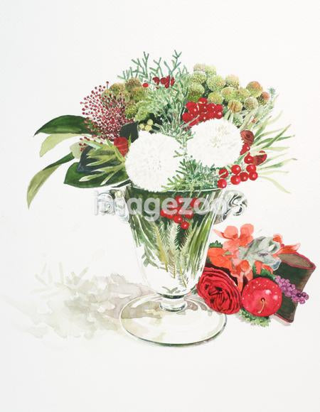 A watercolor painting of flowers in a vase