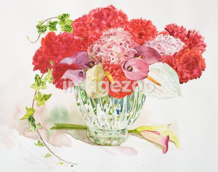 A large bouquet of red flowers in a vase