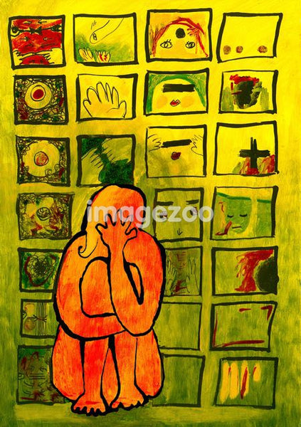 A woman hugging her knees in front of a wall filled with her concerning issues