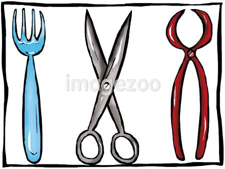 A drawing of a tray of utensils including scissors and a fork
