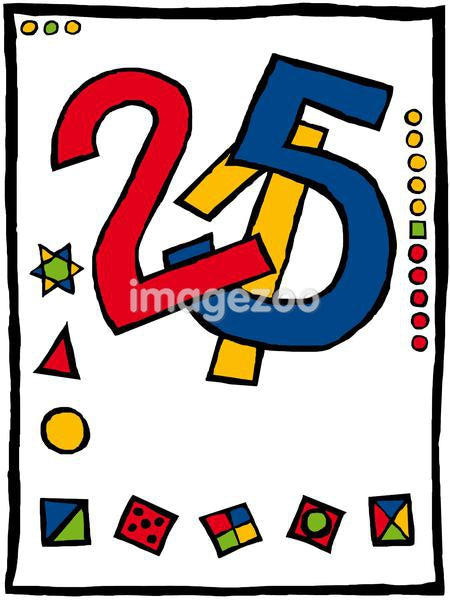 A drawing of colorful numbers and shapes