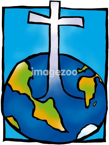 A drawing of a cross emerging from the earth or a world globe