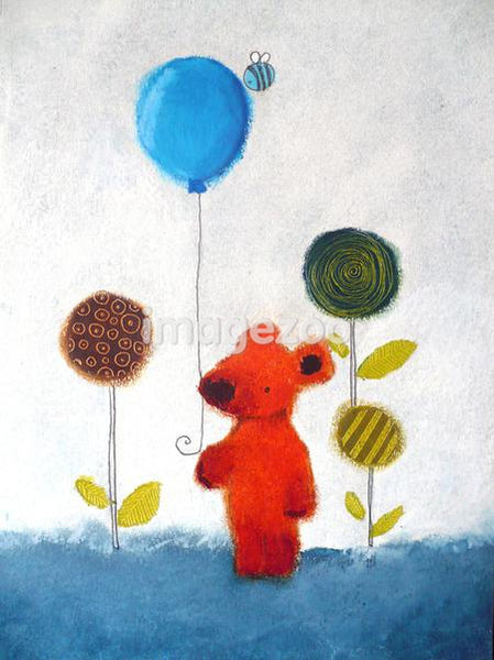 An illustration of a young red bear holding a blue balloon surrounded by beautiful flowers