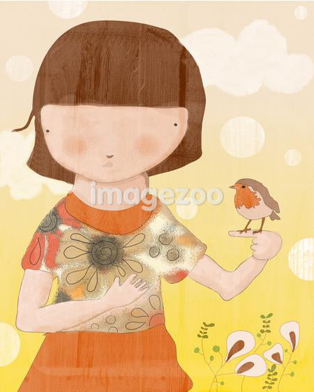 A college of a young girl with a small robin