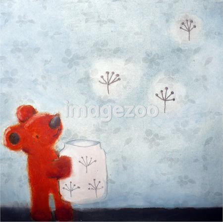 A small red bear freeing blossoms