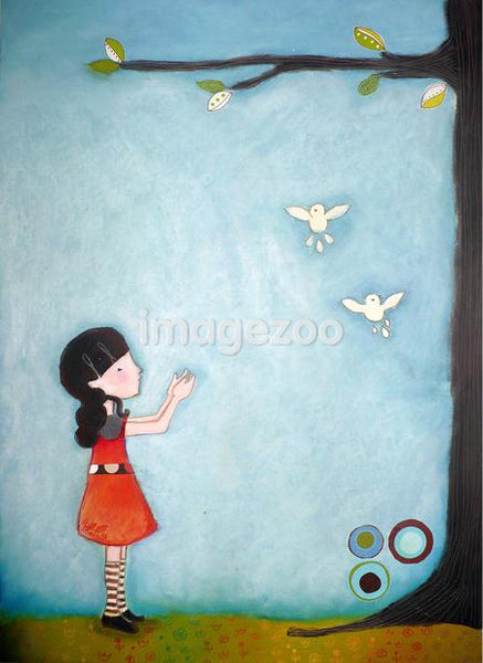 An illustration of a young girl and two small white birds