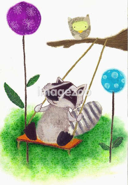 An illustration of a small animal playing on a tree swing