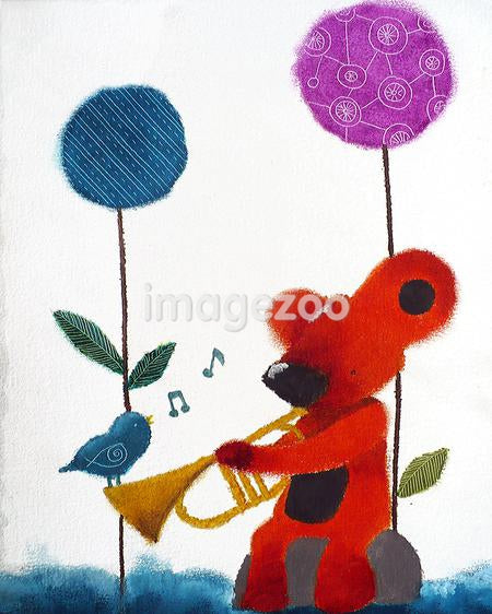 A bear and bird playing music together