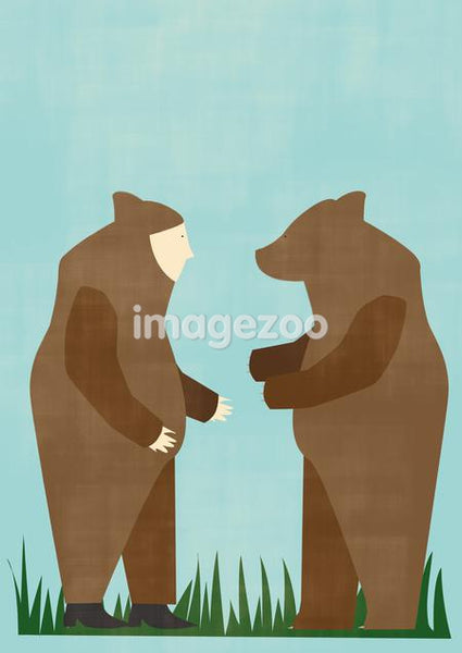A bear and a man dressed as a bear looking at one another