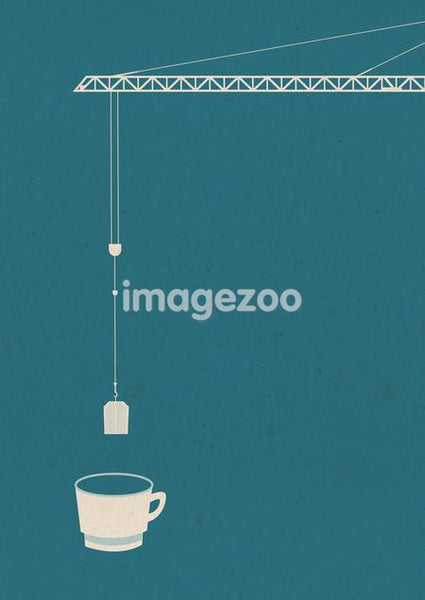 A crane dipping a tea bag into a mug